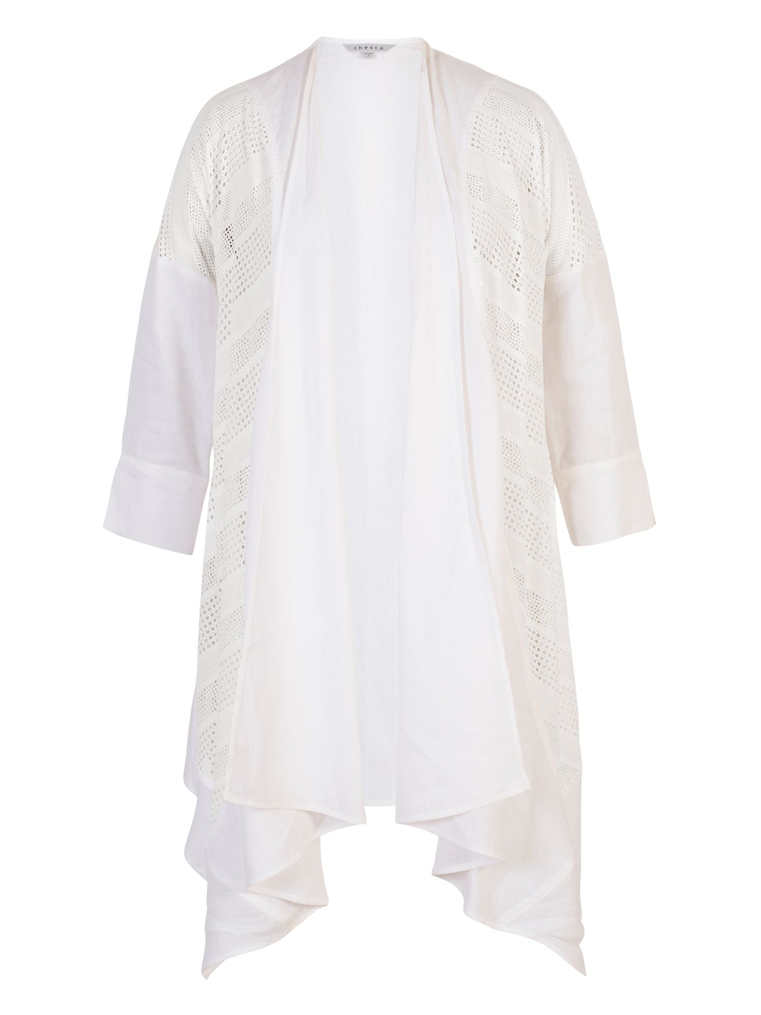 Chesca Squares & Stripe Mesh Trim Linen Coat, White