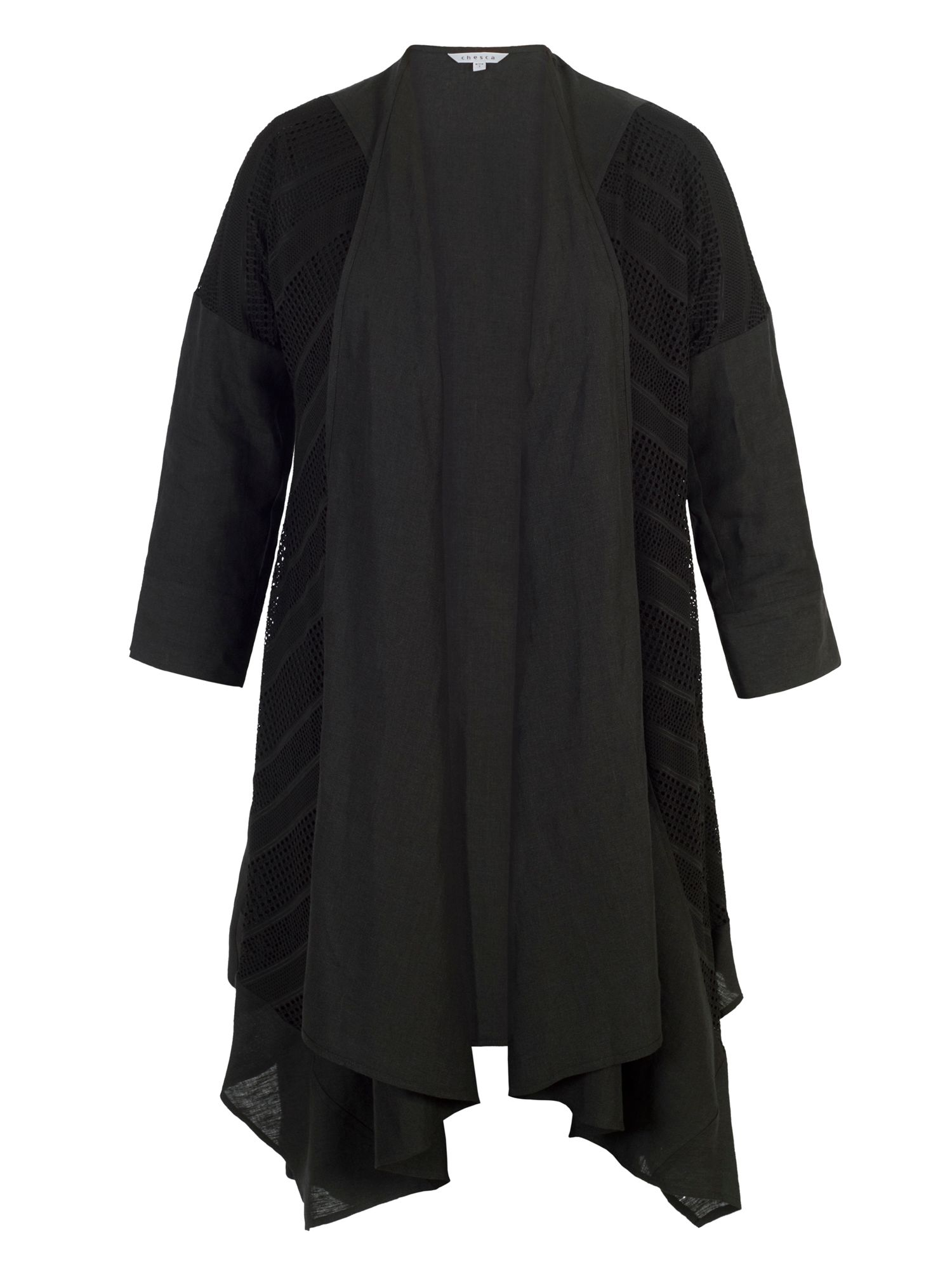 Chesca Squares & Stripe Mesh Trim Linen Coat, Black