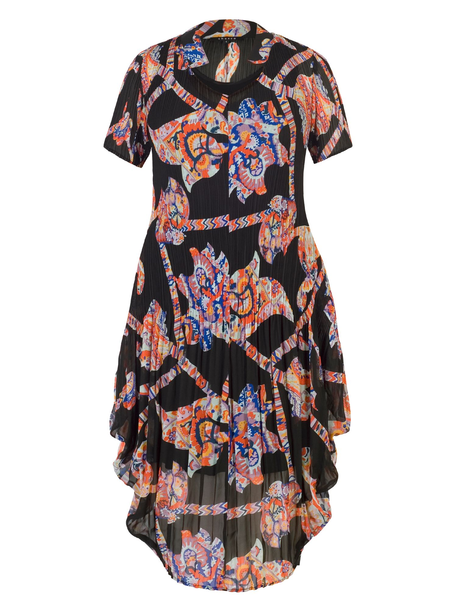 Chesca Abstract Print Crush Pleat Dress, Multi-Coloured