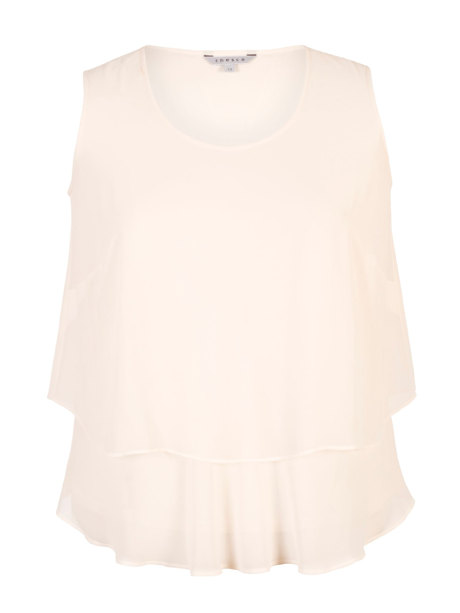 Chesca Wrap Back Layered Chiffon Top, Cream