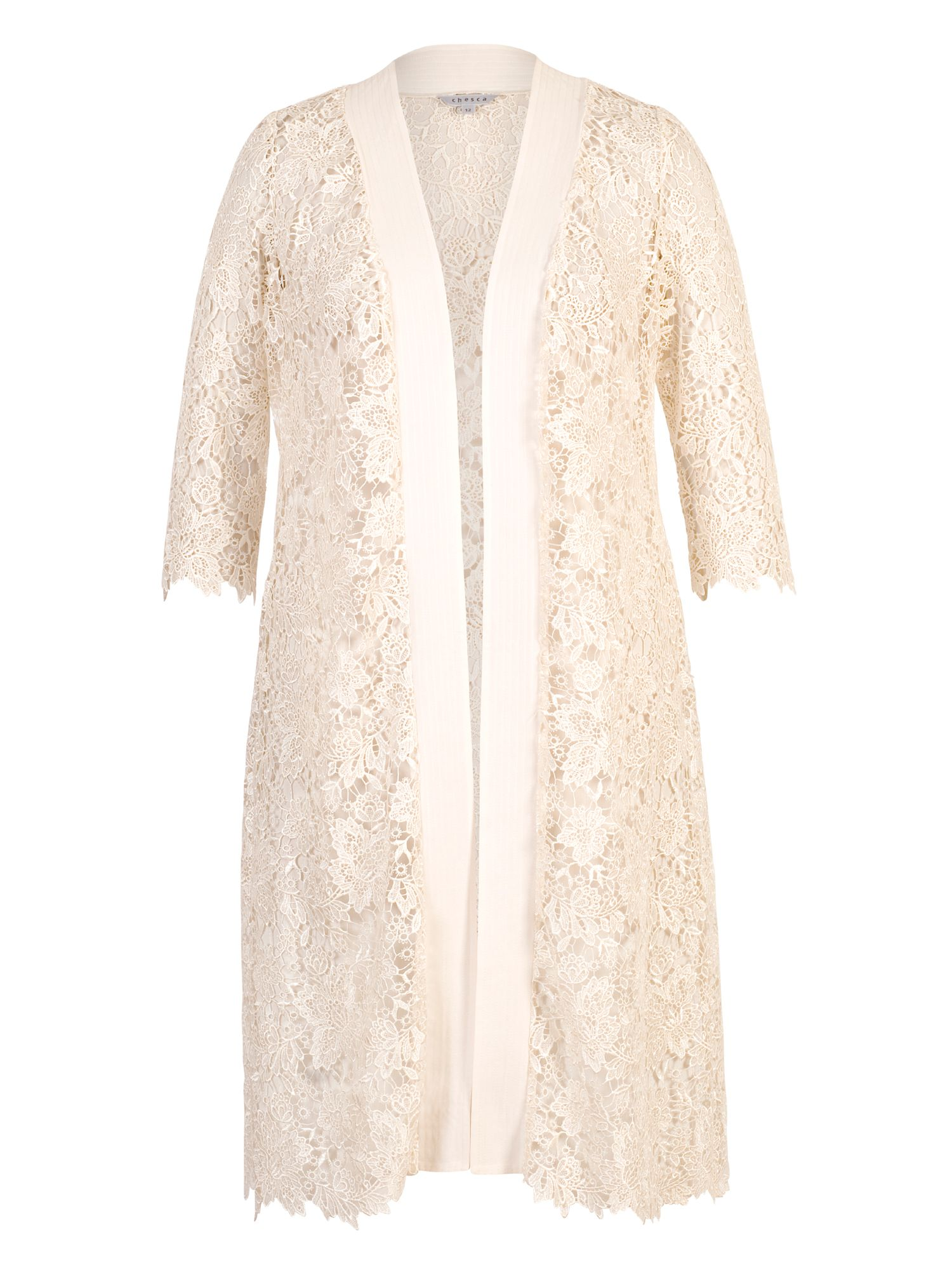Chesca Gupiere Lace Scallop Tipped Coat, Cream