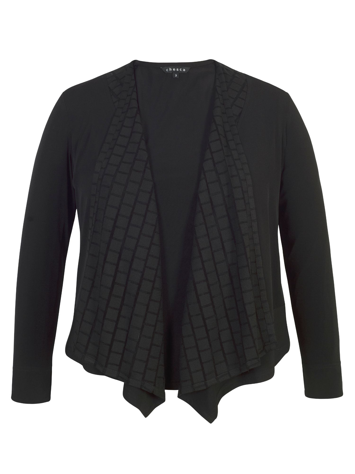 Chesca Jersey Shrug with Mesh Squares Trim, Black