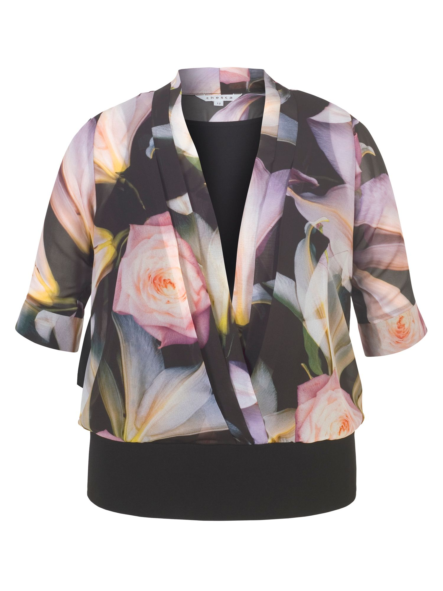 Chesca Printed Chiffon Top with Jersey Trim, Black