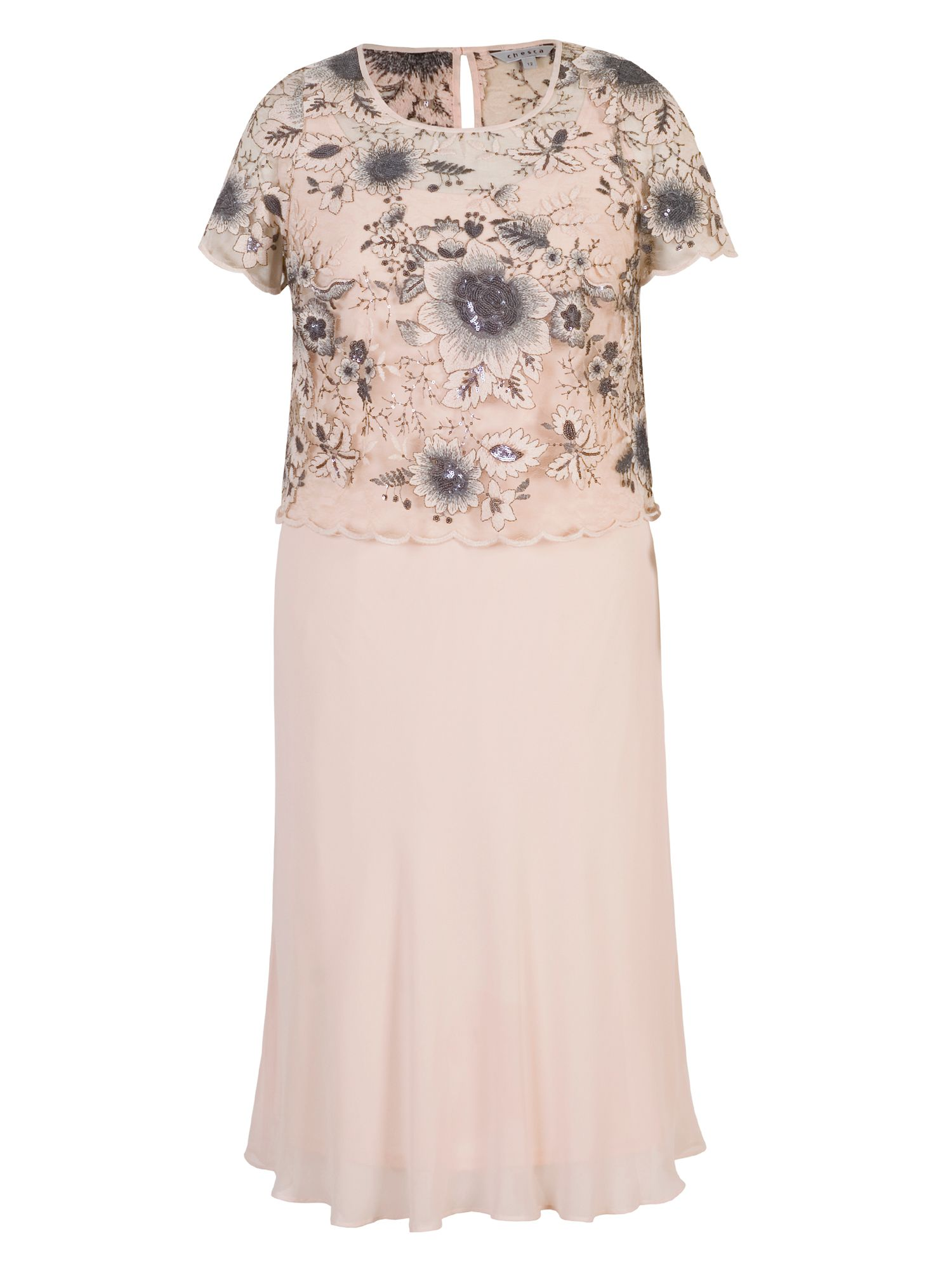 Chesca Chiffon Dress with Embroidered Bodice, Pink