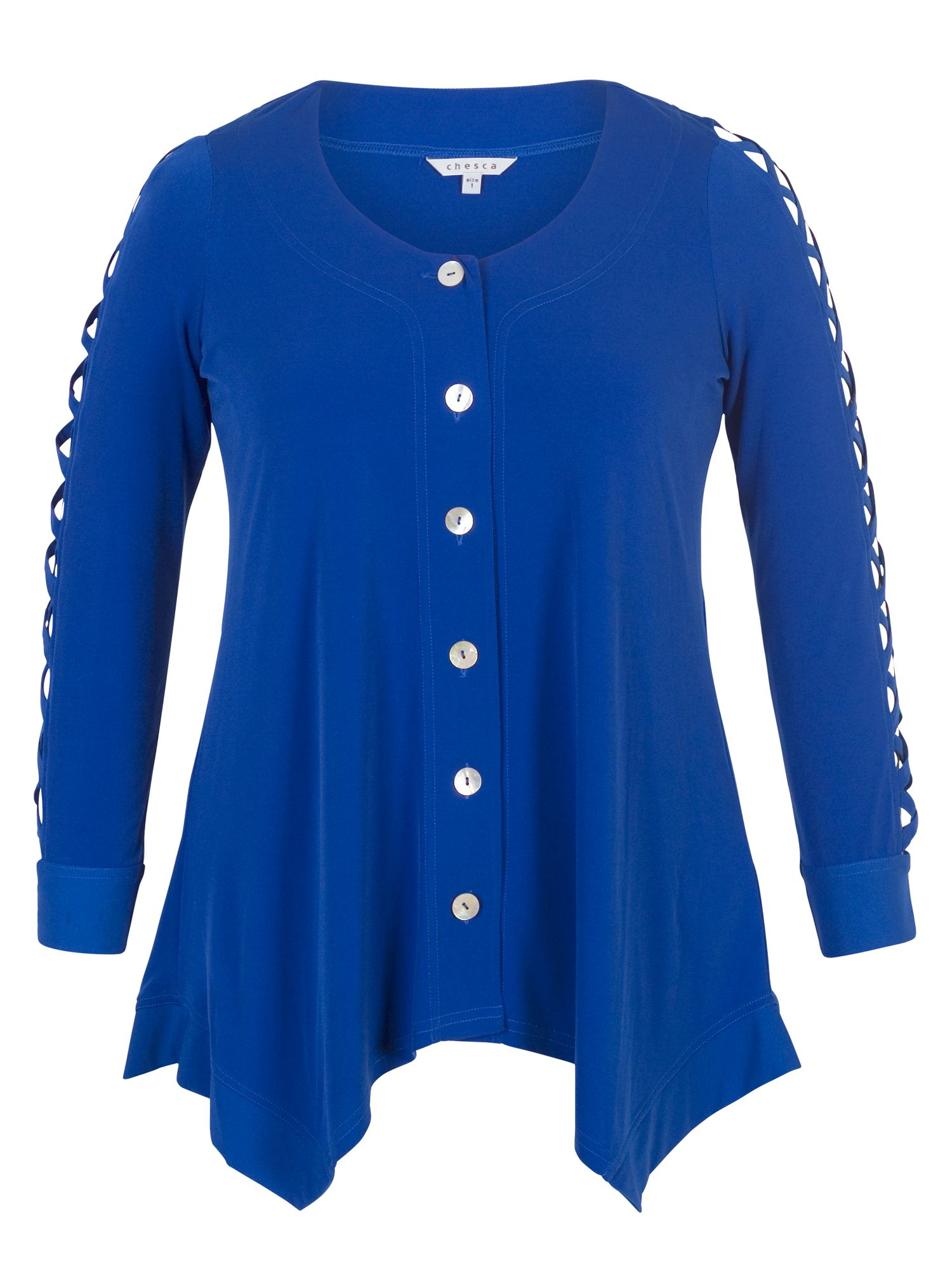 Chesca Criss Cross Sleeve Tunic, Blue