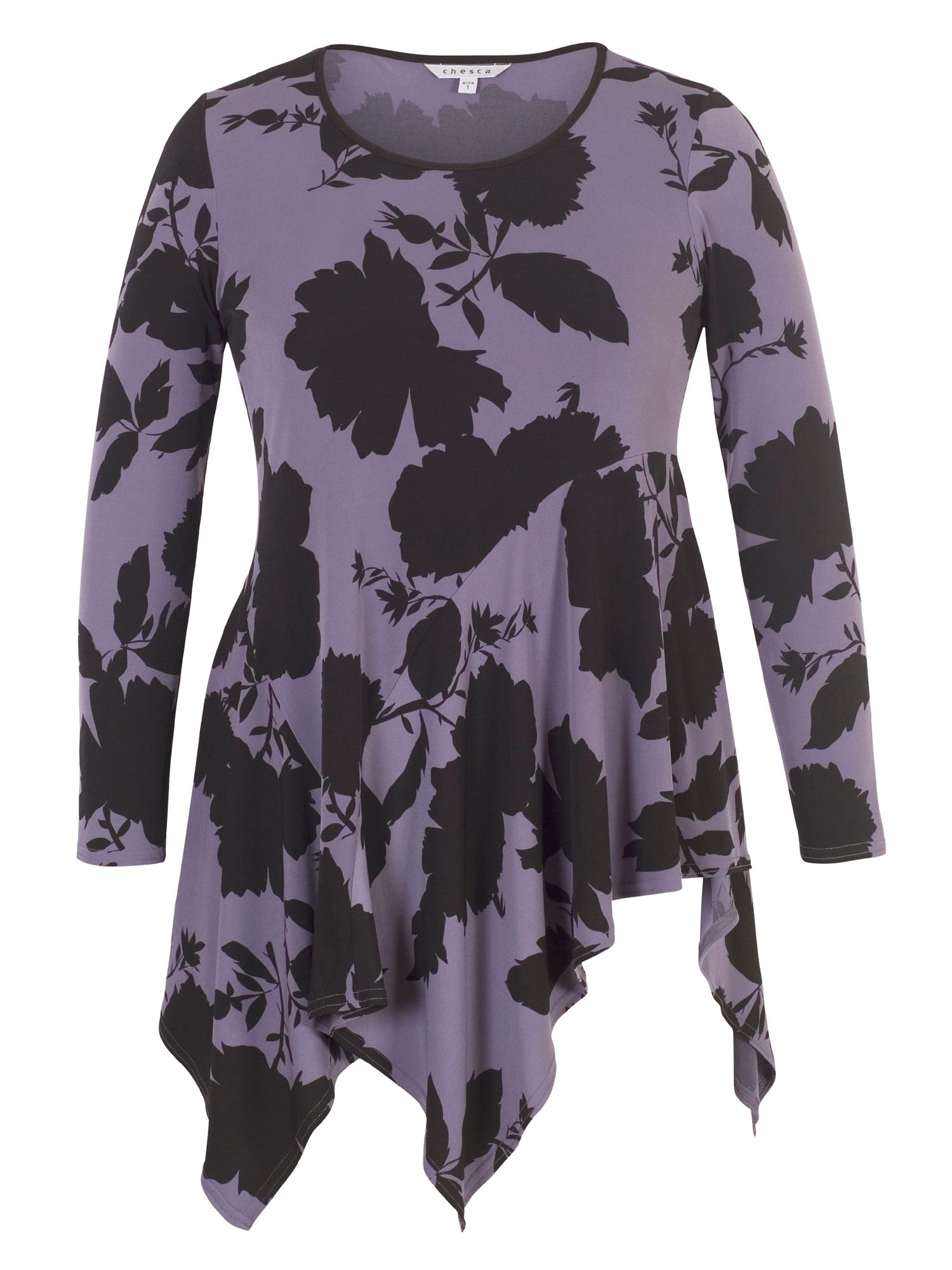 Chesca Floral Print Jersey Tunic, Purple