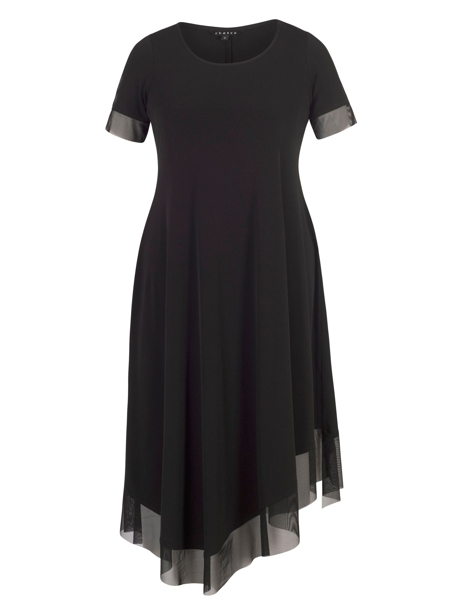 Chesca Jersey Dress with Asymmetric Mesh Hem, Black