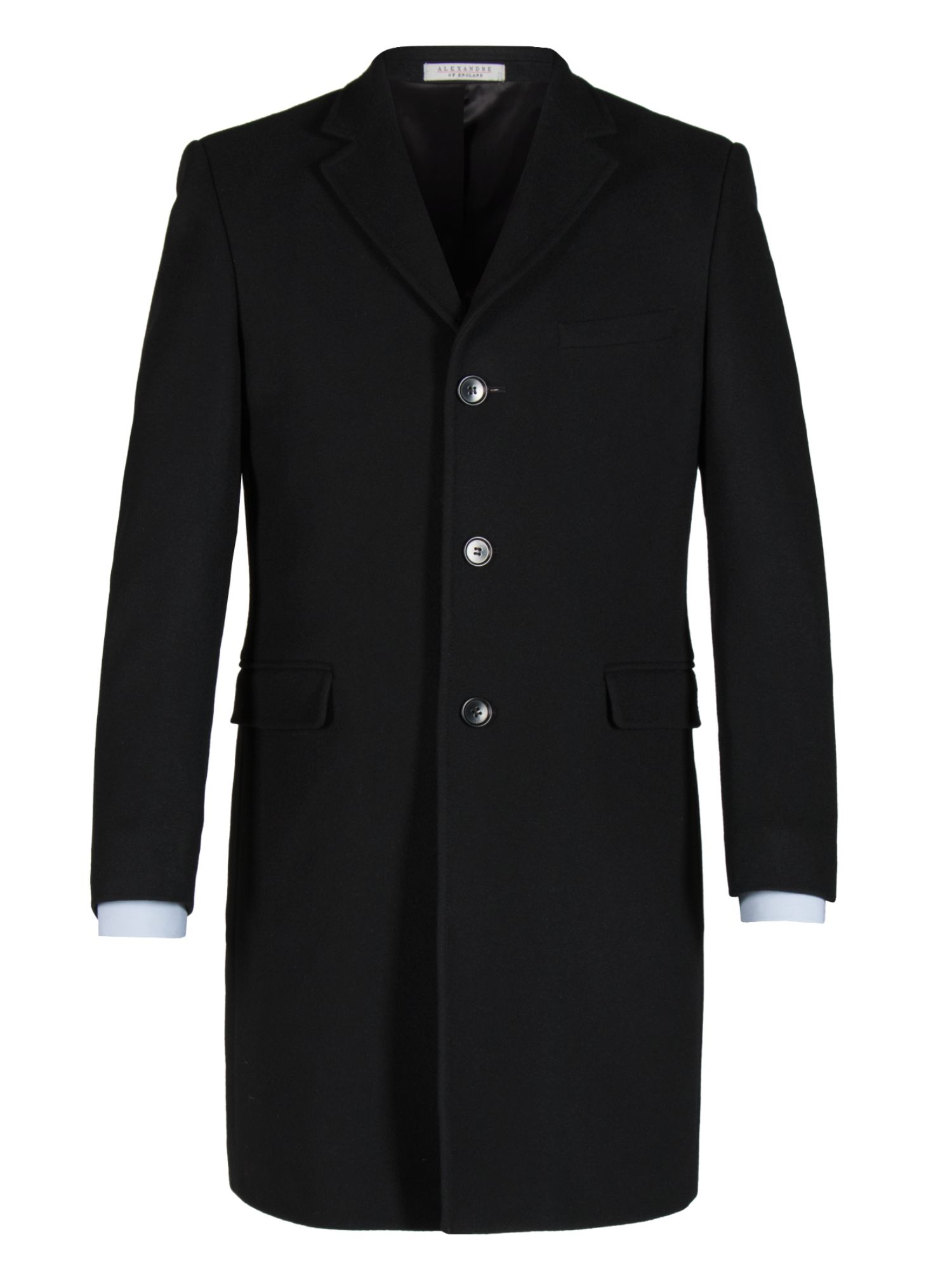 Click to view product details and reviews for Mens Alexandre Of England Hythe Black Melton Overcoat Black.