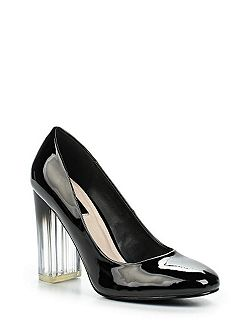 Devlyn perspex block heeled court shoes