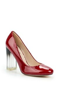 Lost Ink Devlyn perspex block heeled court shoes