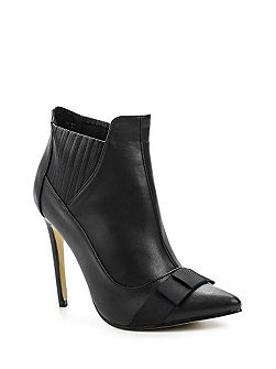 Arden bow front stiletto ankle boots