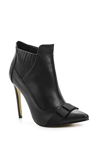 Lost Ink Arden bow front stiletto ankle boots