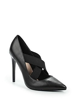 Delphine elastic cross strap court shoes