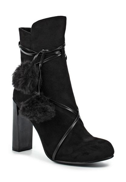 Lost Ink Alice faux fur pom pom ankle boots