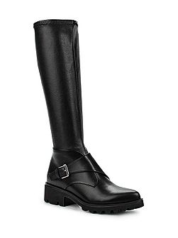 Gripe stretch monk strap knee high boots