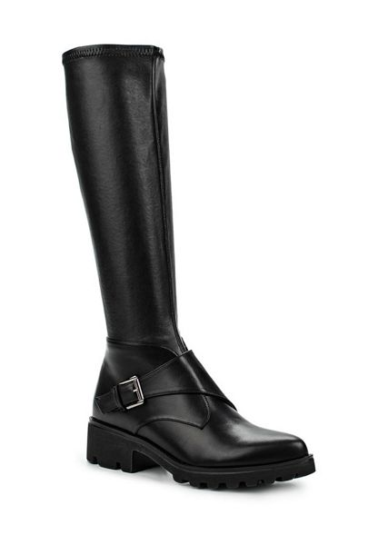 Lost Ink Gripe stretch monk strap knee high boots