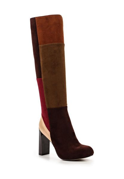 Lost Ink Gypsy patchwork knee-high boots