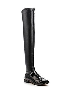 Godiva fringed loafer over knee boots
