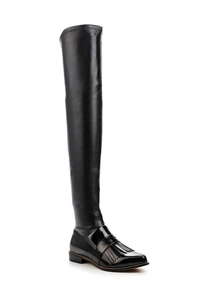Lost Ink Godiva fringed loafer over knee boots