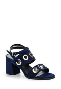 Lost Ink Polar eyelet mid block heeled sandals