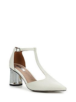 Dame silver heel mid block shoes