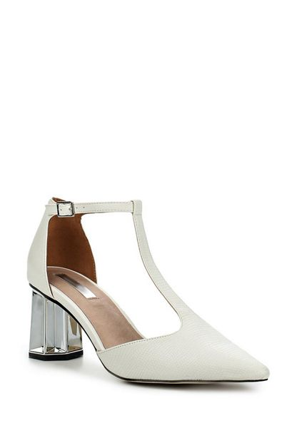 Lost Ink Dame silver heel mid block shoes