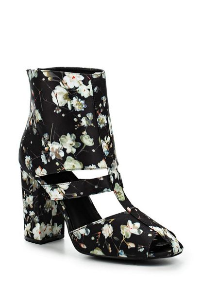 Lost Ink Denny floral block heel ankle boots