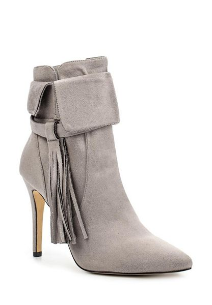 Lost Ink Arella fringed stiletto ankle boots