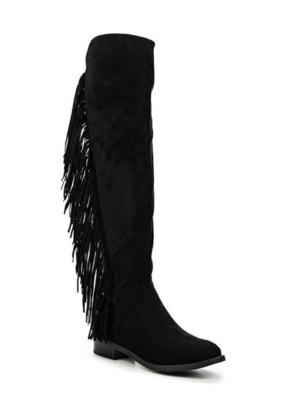 Lost Ink Grayce fringe side over knee high boots