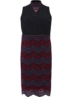 Curve Pencil Dress With Lace Skirt