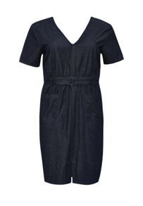 Lost Ink Curve Denim Dress With Pockets & Self Belt