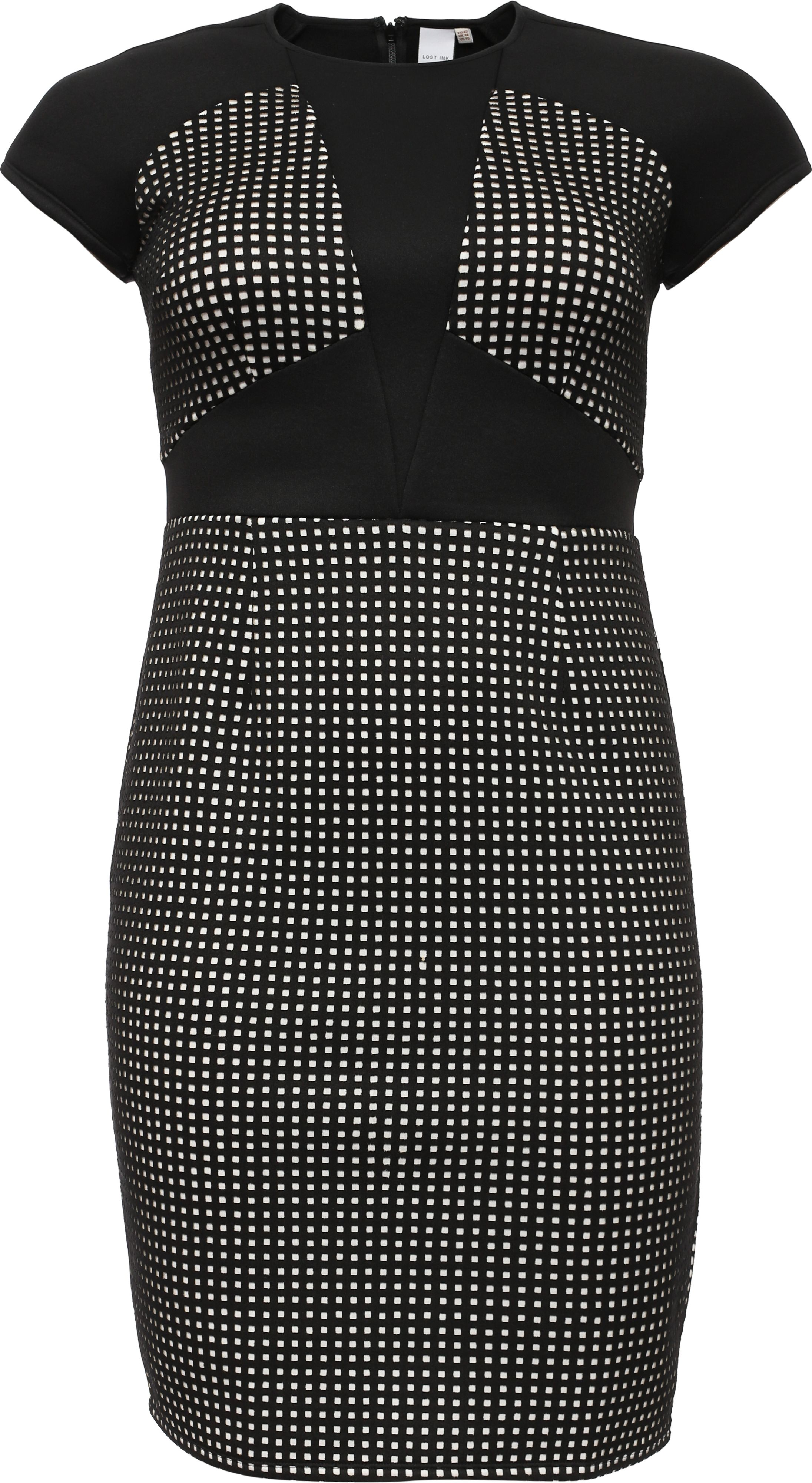 Lost Ink Curve Panelled Bodycon Dress, Multi-Coloured