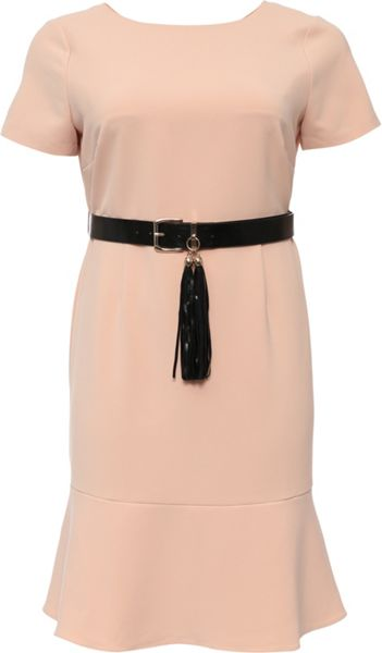 Lost Ink Curve Pephem Dress With Belt