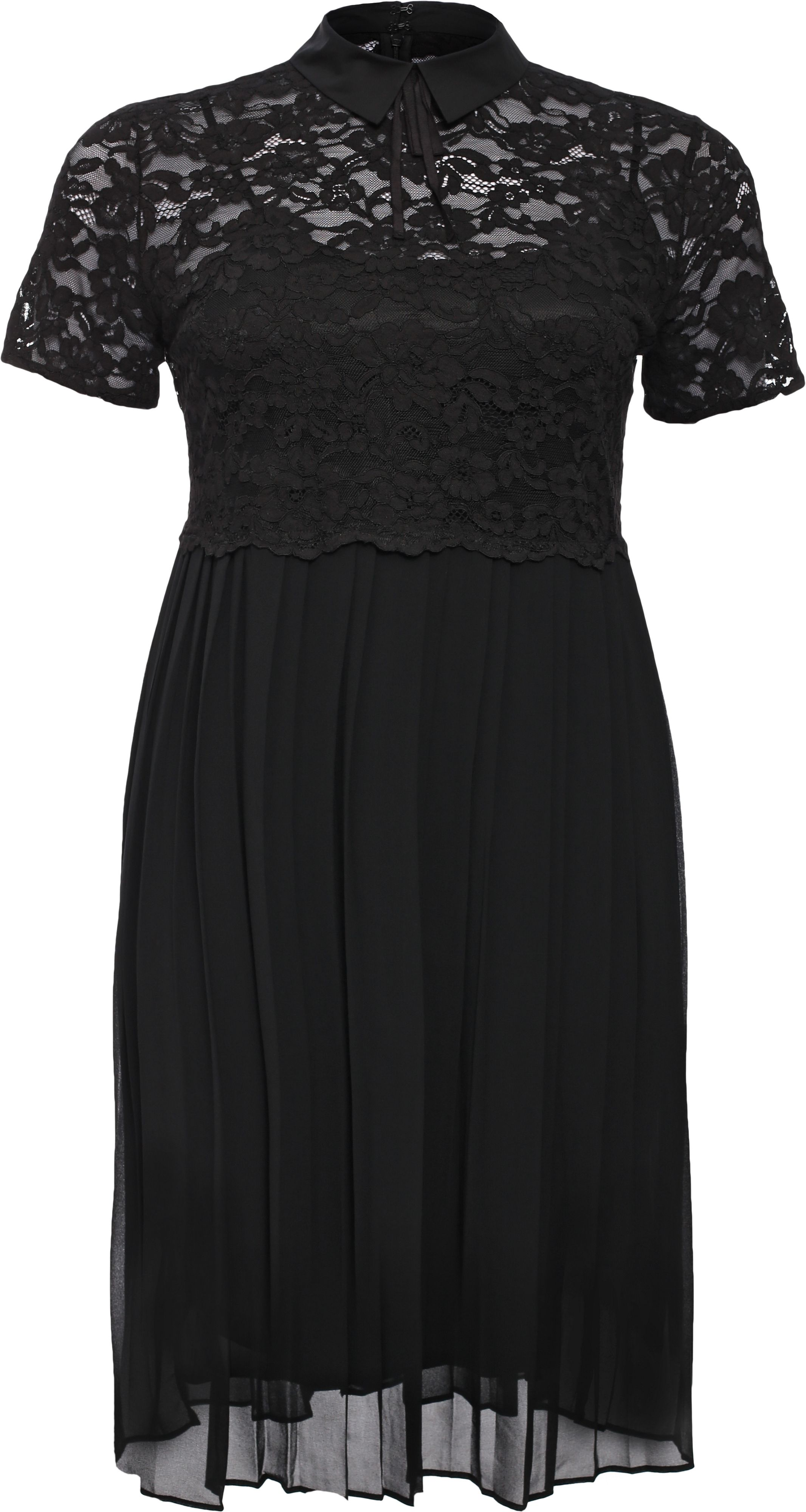 Lost Ink Curve Skater Dress With Lace Top & Pleated Skirt, Black