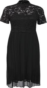 Lost Ink Curve Skater Dress With Lace Top & Pleated Skirt
