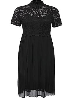 Curve Skater Dress With Lace Top & Pleated