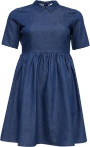Lost Ink Curve Skater Dress In Denim With Collar