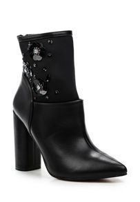 Lost Ink Amelia sequin block heel ankle boots