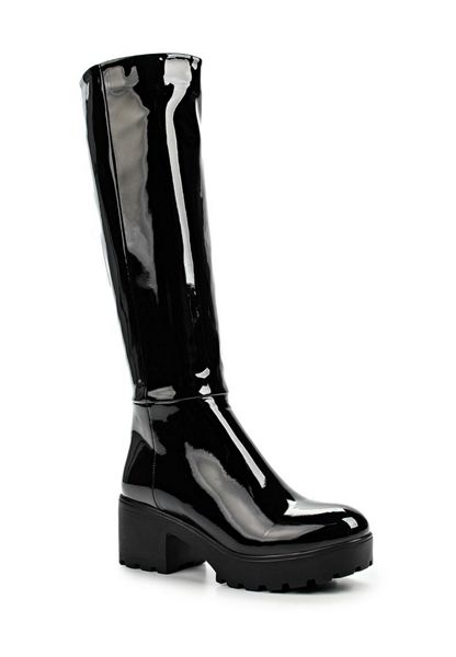 Lost Ink Gia patent knee high boots