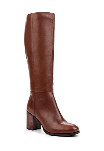 Lost Ink Lyn leather mid heel knee boots