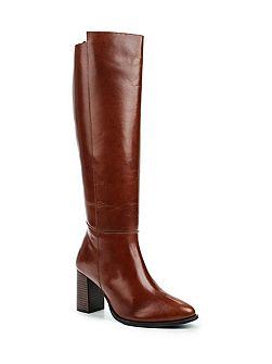Grasp leather high block heel boots