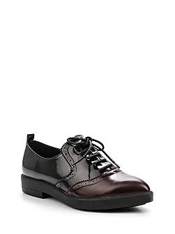 Javine brogued point lace up shoes