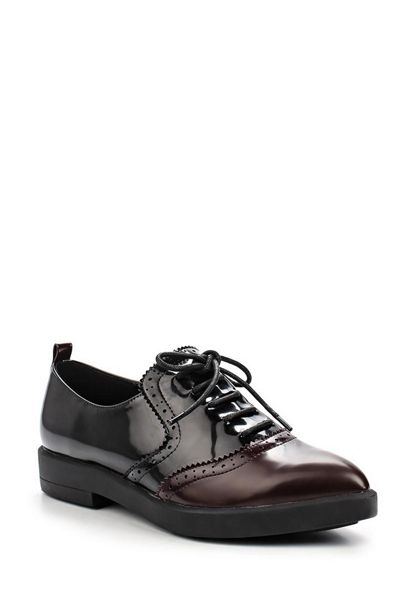 Lost Ink Javine brogued point lace up shoes