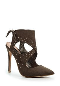 Lost Ink Chaki pin stud heeled shoes