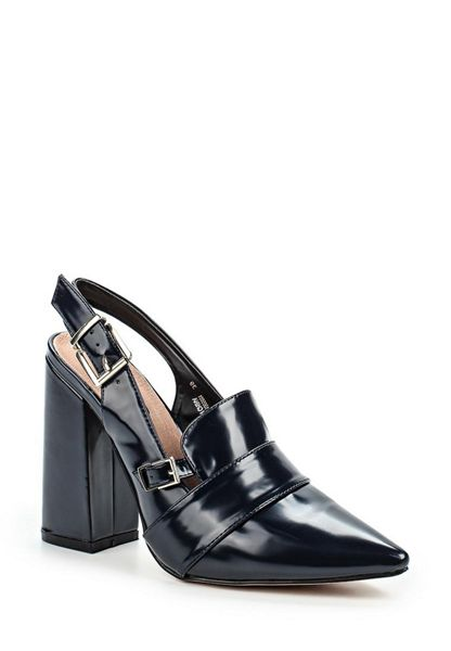 Lost Ink Donnie sling back block heeled shoes