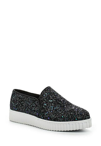 Lost Ink Evita glitter point plimsolls