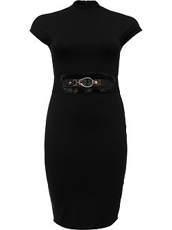 Curve High Neck Bodycon Dress With Belt