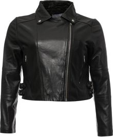 Lost Ink Curve Leather Biker Jacket