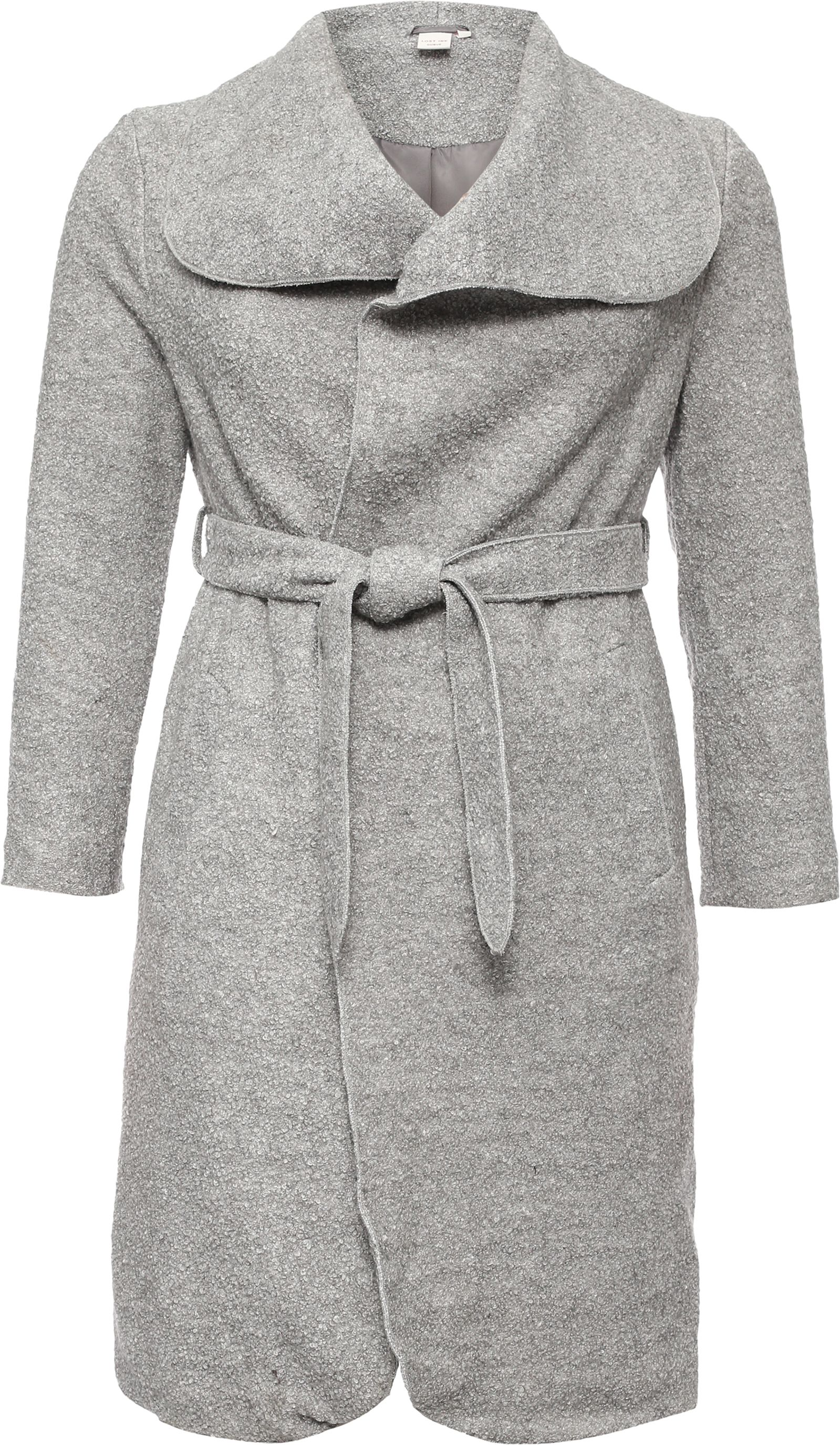 Lost Ink Curve Textured Wool Coat, Grey