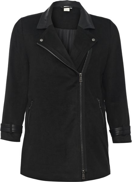 Lost Ink Curve Biker Coat With Pu Trim